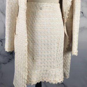 CHANEL AUTHENTIC tweed coat & skirt set